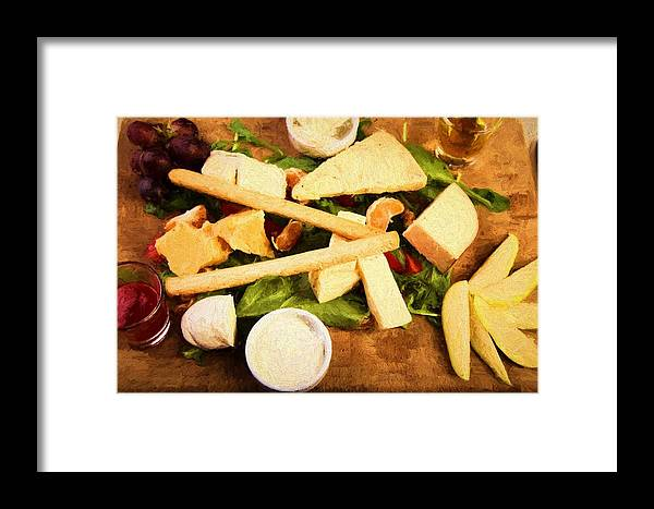 Cheese Framed Print featuring the photograph Cheese And Fruit by Roberto Giobbi
