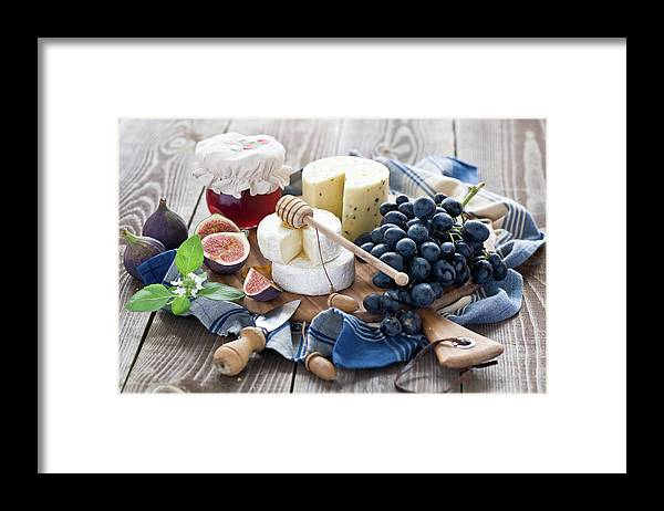 Plum Framed Print featuring the photograph Cheese Board by Verdina Anna