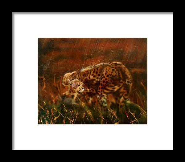 Rain;water;cats;africa;wildlife;animals;mother;shelter;brush;bush Framed Print featuring the painting Cheetah Family After The Rains by Sean Connolly