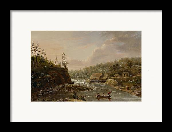 Cheever's Mill; St. Croix River; Landscape; Minnesota; Mill; Building; Industry; Industrial; Industrialisation; Boat; Figures; Houses; Buildings; Exterior; Flowing; Water; Trees; Woodland; Logging; Timber; America; American; Usa; Settlers; Settlement; Hudson River School; Wood Framed Print featuring the painting Cheevers Mill On The St. Croix River by Henry Lewis