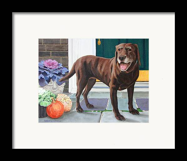 Dog Framed Print featuring the painting Chelsea At The Door by Sandra Chase