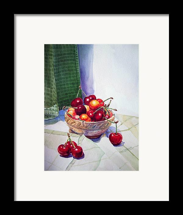 Berry Framed Print featuring the painting Cherries by Irina Sztukowski