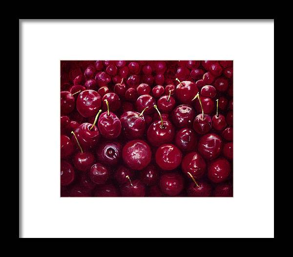 Red Cherries Framed Print featuring the painting Cherries by Patricia Devitt