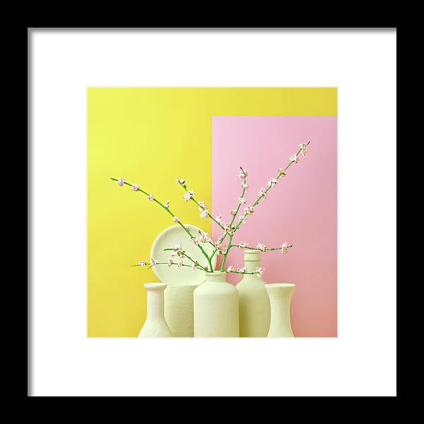 Out Of Context Framed Print featuring the photograph Cherry Blossom Popcorn In Monochromatic by Juj Winn