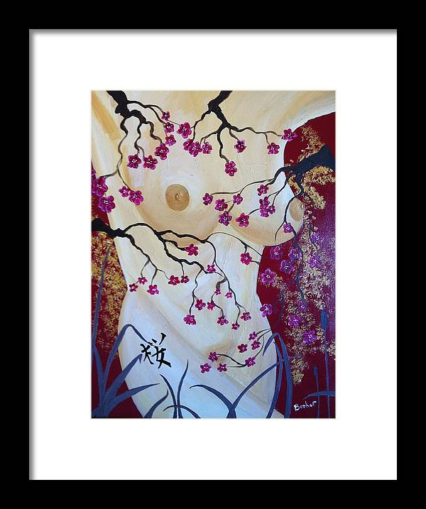 Asian Framed Print featuring the painting Cherry Blossom by Robert Hofmann