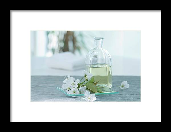 Spa Framed Print featuring the photograph Cherry Blossom With Aroma Oil, Close Up by Westend61