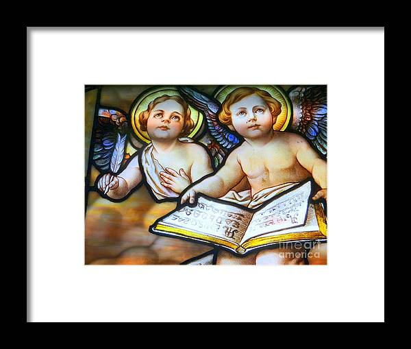 Stained Glass Framed Print featuring the photograph Cherubs by Ed Weidman