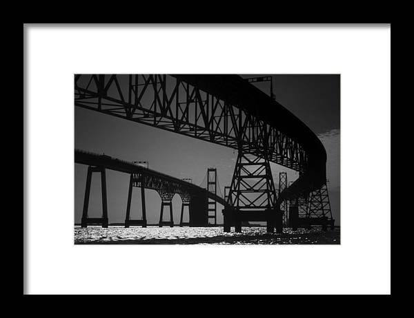 Md Framed Print featuring the photograph Chesapeake Bay Bridge At Annapolis by Skip Willits