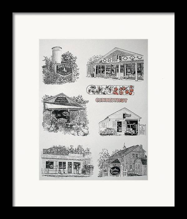 Connecticut Chechire Ct Architecture Buildings New England Framed Print featuring the painting Cheshire Landmarks by Tony Ruggiero