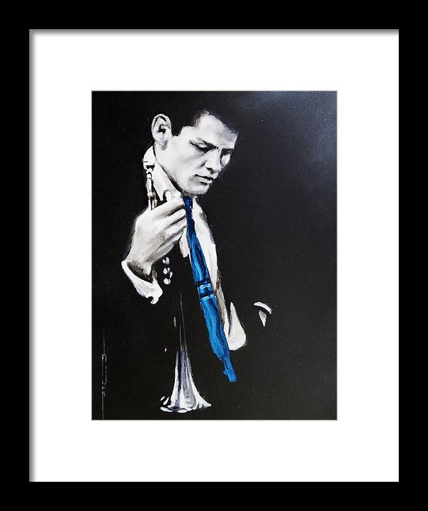 Chet Baker Framed Print featuring the painting Chet Baker - Almost Blue by Eric Dee