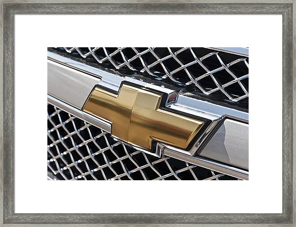 chevrolet bowtie symbol on chevy silverado grill e181 framed print Silverado Grill Guard chevrolet framed print featuring the photograph chevrolet bowtie symbol on chevy silverado grill e181 by wendell