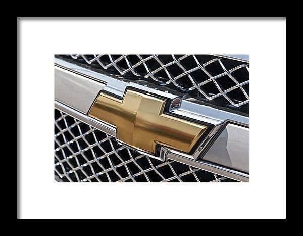 Chevrolet Bowtie Symbol On Chevy Silverado Grill E181 Framed Print