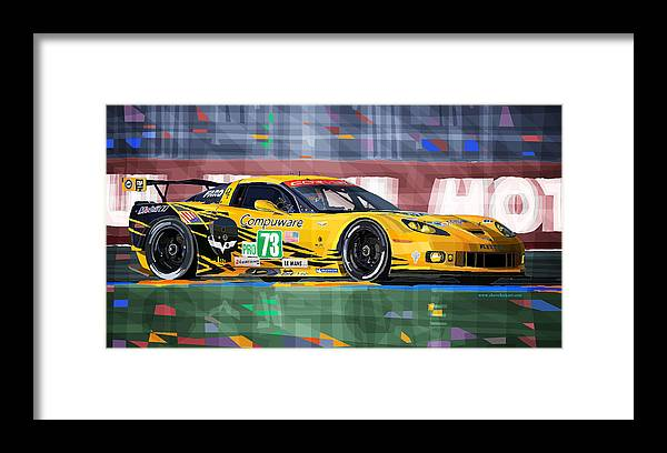 Automotive Framed Print featuring the mixed media Chevrolet Corvette C6R GTE Pro Le Mans 24 2012 by Yuriy Shevchuk