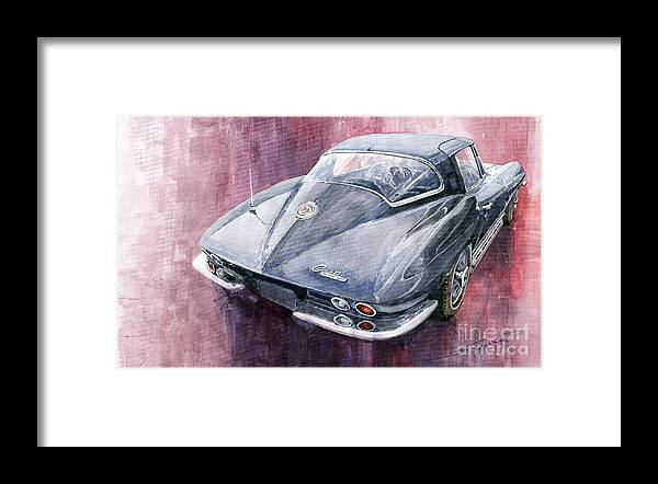 Watercolor Framed Print featuring the painting Chevrolet Corvette Sting Ray 1965 by Yuriy Shevchuk