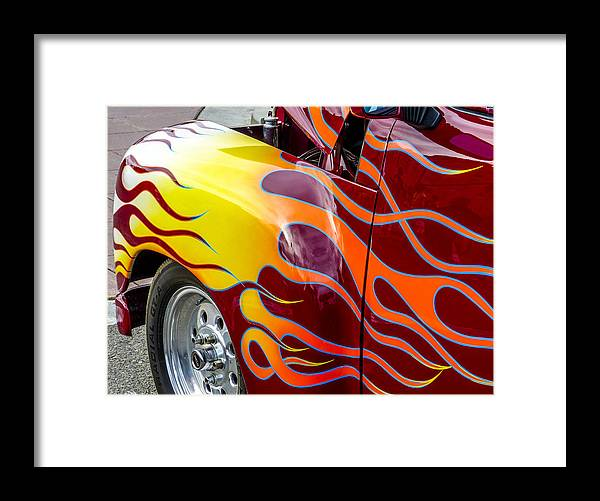 Chevy Pickup Framed Print featuring the photograph Chevy Pickup Flames by Robert Grant