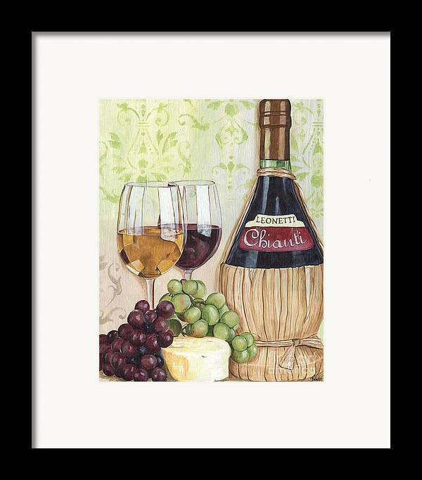 Wine Framed Print featuring the painting Chianti And Friends by Debbie DeWitt