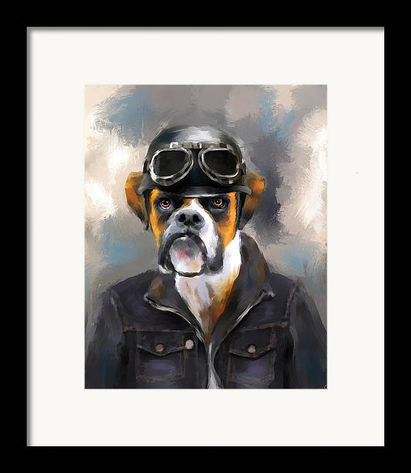 Art Framed Print featuring the painting Chic Boxer Aviator by Jai Johnson