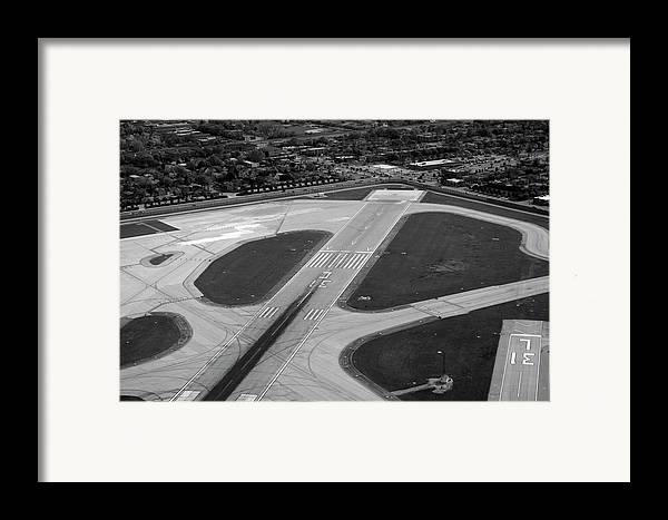 Midway Airport Framed Print featuring the photograph Chicago Airplanes 04 Black And White by Thomas Woolworth