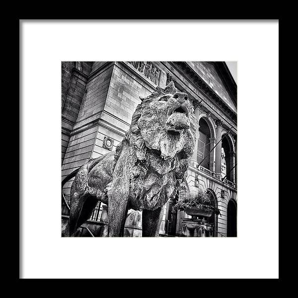 America Framed Print featuring the photograph Lion Statue at Art Institute of Chicago by Paul Velgos