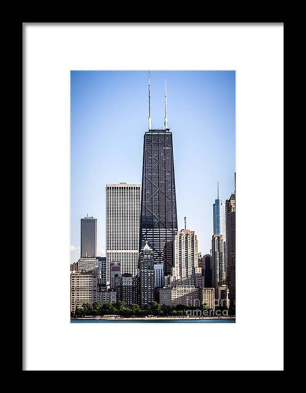 America Framed Print featuring the photograph Chicago At Night With John Hancock Building by Paul Velgos