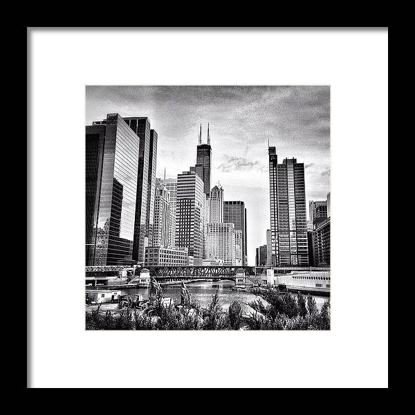 America Framed Print featuring the photograph Chicago River Buildings Black and White Photo by Paul Velgos