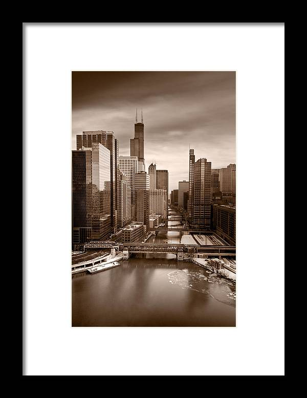 Train Framed Print featuring the photograph Chicago City View Afternoon B And W by Steve Gadomski