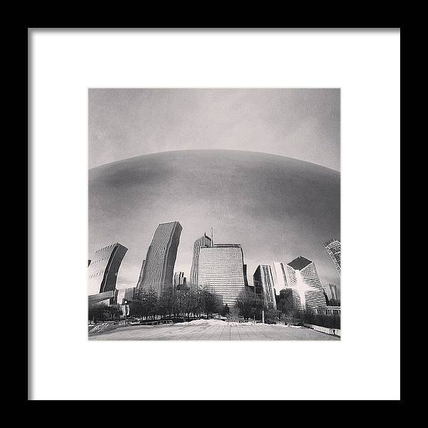 America Framed Print featuring the photograph Cloud Gate Chicago Skyline Reflection by Paul Velgos
