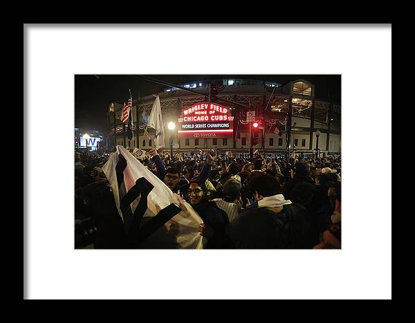 American League Baseball Framed Print featuring the photograph Chicago Cubs Fans Gather To Watch Game by Scott Olson