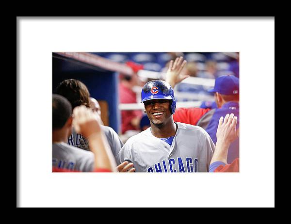 Second Inning Framed Print featuring the photograph Chicago Cubs V Miami Marlins by Rob Foldy