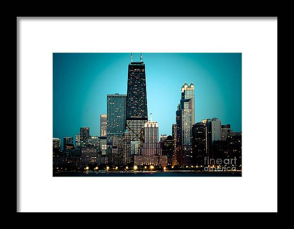 America Framed Print featuring the photograph Chicago Downtown At Night With Hancock Building by Paul Velgos