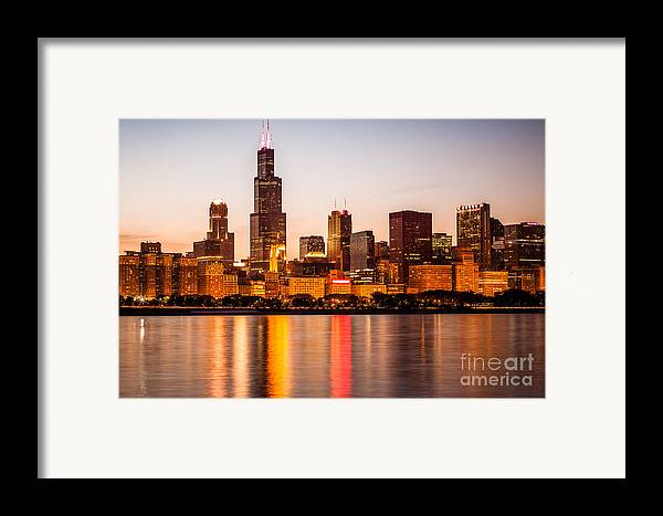 America Framed Print featuring the photograph Chicago Downtown City Lakefront With Willis-sears Tower by Paul Velgos