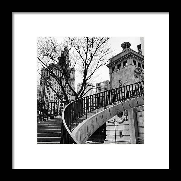 America Framed Print featuring the photograph Chicago Staircase Black and White Picture by Paul Velgos