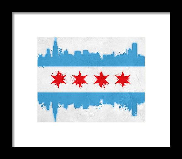 Chicago Framed Print featuring the painting Chicago Flag by Mike Maher