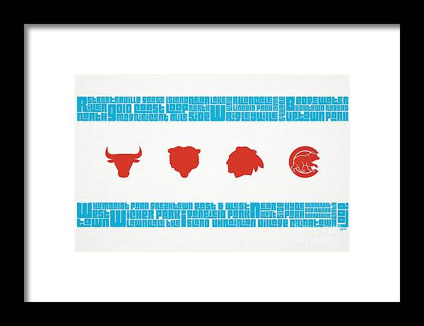 Chicago Framed Print featuring the mixed media Chicago Flag Sports Teams by Mike Maher
