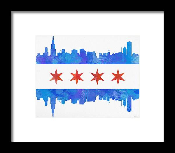 Chicago Framed Print featuring the painting Chicago Flag Watercolor by Mike Maher