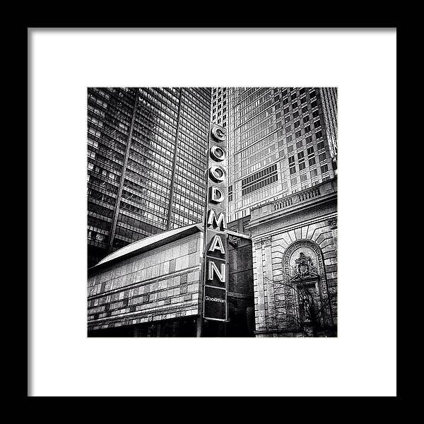 America Framed Print featuring the photograph Chicago Goodman Theatre Sign Photo by Paul Velgos
