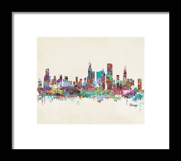 Chicago City Skyline Framed Print featuring the painting Chicago Illinois Skyline by Bri Buckley