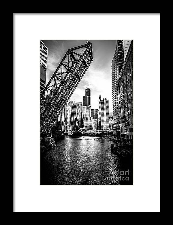 America Framed Print featuring the photograph Chicago Kinzie Street Bridge Black and White Picture by Paul Velgos