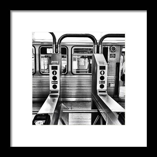 Chicagogram Framed Print featuring the photograph Chicago L Train Gate In Black And White by Paul Velgos