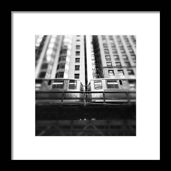 America Framed Print featuring the photograph Chicago L Train In Black And White by Paul Velgos
