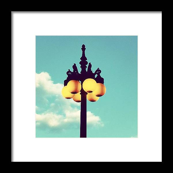 Chicago Framed Print featuring the photograph Chicago Lamp Post And Blue Skies by Jill Tuinier