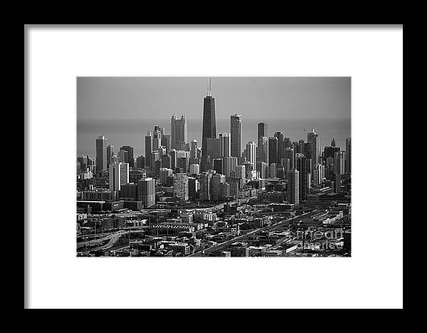 Black And White Framed Print featuring the photograph Chicago Looking East 01 Black And White by Thomas Woolworth