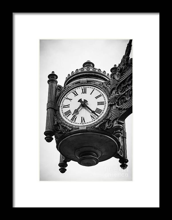 America Framed Print featuring the photograph Chicago Macy's Marshall Field's Clock In Black And White by Paul Velgos