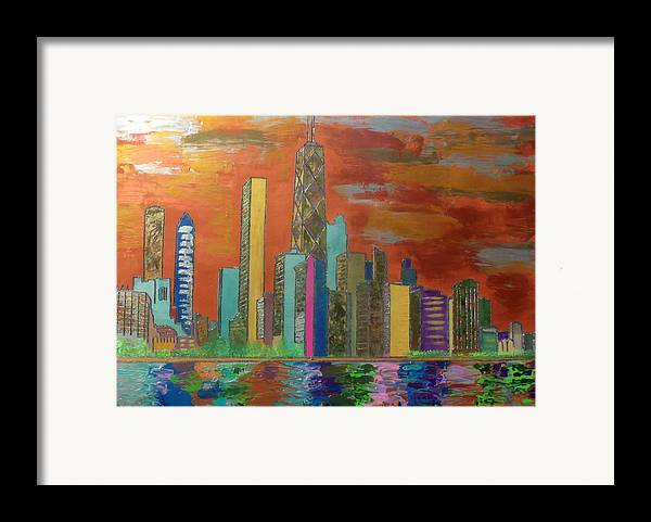 Chicago Framed Print featuring the painting Chicago Metallic Skyline by Char Swift