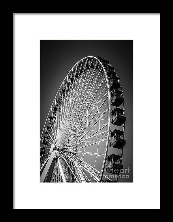 America Framed Print featuring the photograph Chicago Navy Pier Ferris Wheel In Black And White by Paul Velgos