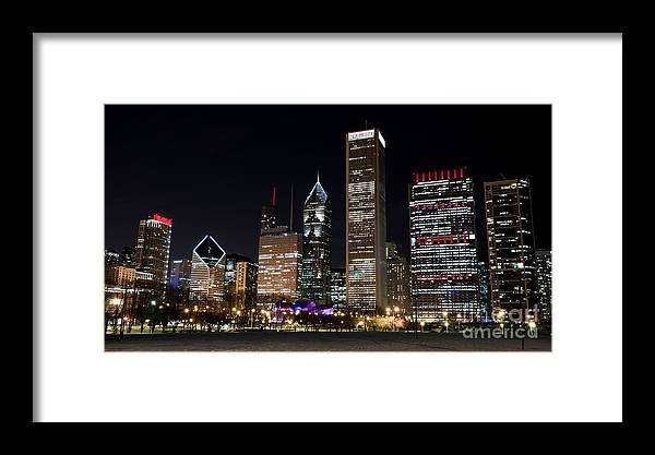 America Framed Print featuring the photograph Chicago Night Skyline by Adahm Faehn