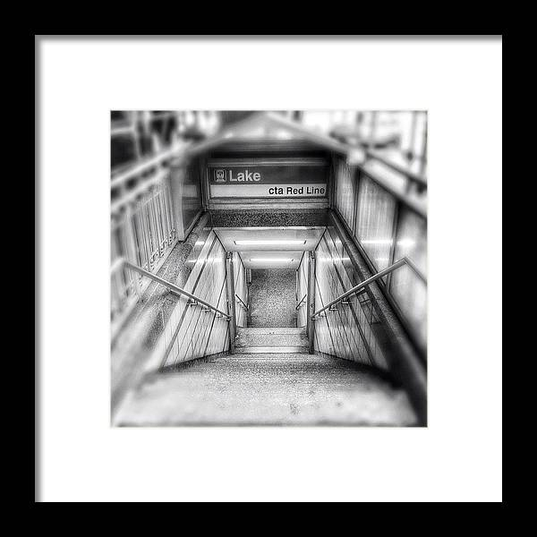 America Framed Print featuring the photograph Chicago Lake CTA Red Line Stairs by Paul Velgos