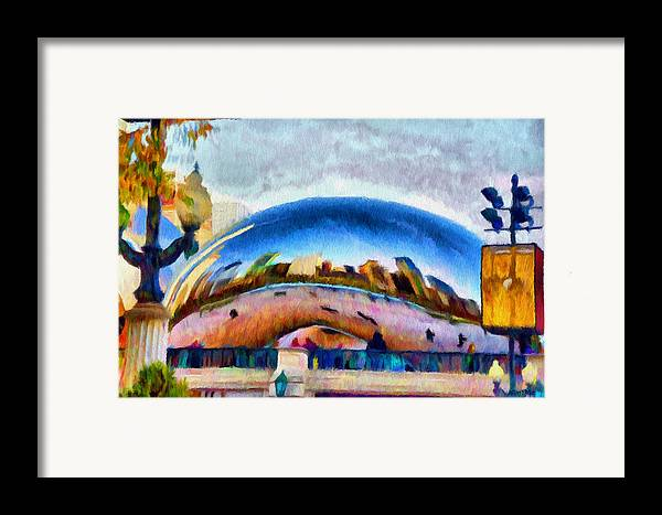 Bean Framed Print featuring the painting Chicago Reflected by Jeffrey Kolker