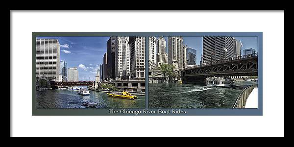 Riverwalk Framed Print featuring the photograph Chicago River Boat Rides 2 Panel by Thomas Woolworth