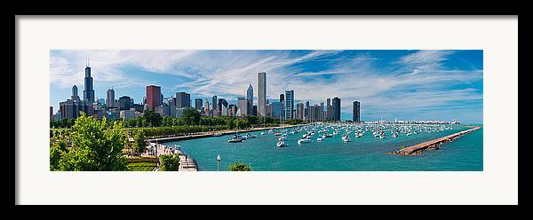 3scape Framed Print featuring the photograph Chicago Skyline Daytime Panoramic by Adam Romanowicz